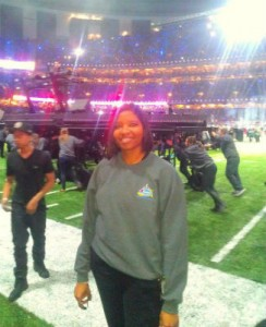 COOL PHOTO: Malakoff High School Assistant Superintendent  Danielle Copeland was part of the crew that put together the stage at the Super Bowl. (COURTESY PHOTO)