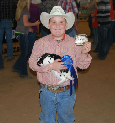 Grand Champion (Best of Breed) went to Trey Salazar, 9, of Happy Days 4-H. He attends school at Cross Roads ISD.