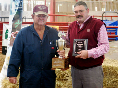 Congratulations to the 2013 Joe B. Fulgham Award Henderson County Agriculturist of the Year, Jody Jackson (left), shown here with AgriLife Extension Agent Rick Hirsch. (MICHAEL V. HANNIGAN)