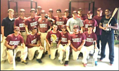 Kendall Sanders hangs out with the Athens Hornets baseball team this week. (COURTESY PHOTO)