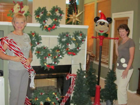 pwc president gail fankhauser and treasurer marlene ungarean admire christmas decorations donated for the upcoming pwc - Christmas Mouse Decorations