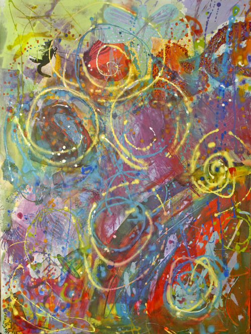 This 36x40 abstract painting will be auctioned at the Spring Art Show to benefit TVCC student Sasha Madsen, who is battling leukemia.
