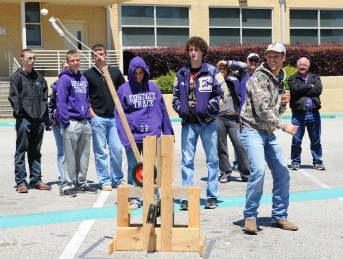 Students from Eustace High School were among the competitors in last year's inaugural Egg Catapult Competition, which is held in conjunction with the campuses Earth Day Festival. This year's event is set for Tuesday, April 22. (COURTESY PHOTO)