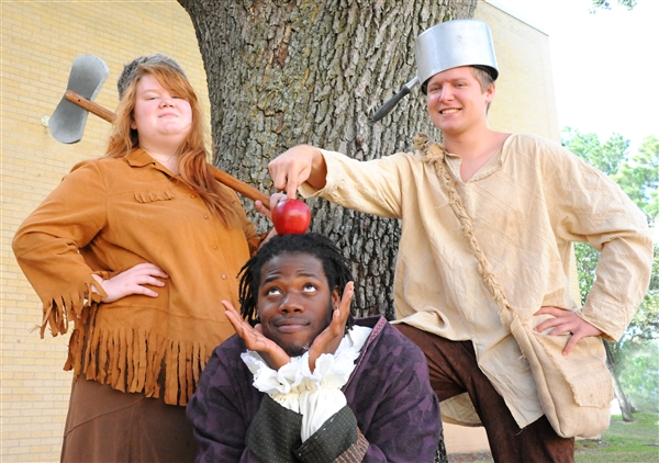 """(From left) Sally Ann Thunder Ann Whirlwind (played by Shaydi Parramore), Pete (Ashton Milton) and Johnny Appleseed (Eric Nelson) will bring their tall tales and antics to the stage when the TVCC Department of Theatre presents """"Johnny and Sally Ann: The True-Life Tall Tales of Johnny Appleseed and Sally Ann Thunder Ann Whirlwind."""" The show begins next week with two days reserved for elementary school students. A public performance is set for Friday, Oct. 3, at 7 p.m. at the TVCC Auditorium."""