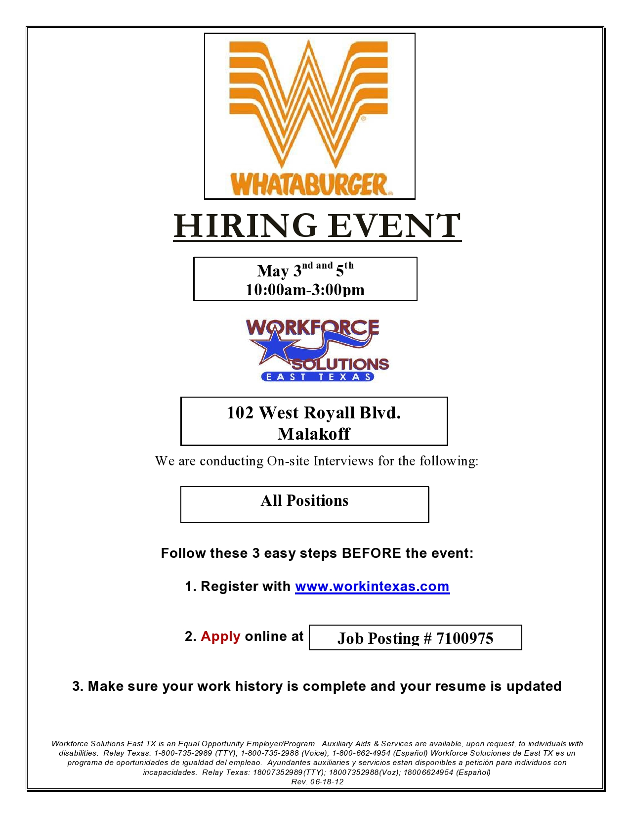 Whataburger schedules hiring events in Malakoff