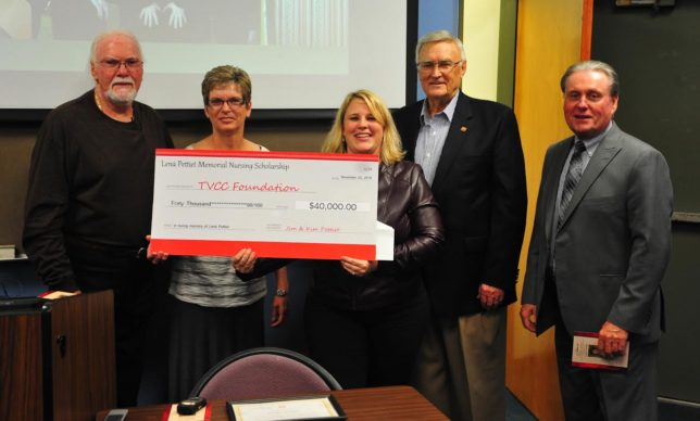 Pictured: Jimmy and Kim Pettiet present a check establishing the Lená Pettiet Memorial Nursing Scholarship to TVCC Vice President of Institutional Advancement and TVCC Foundaion Director Kristen Bennett, TVCC Board President Ray Raymand and TVCC President Dr. Jerry King. (Courtesy photo)